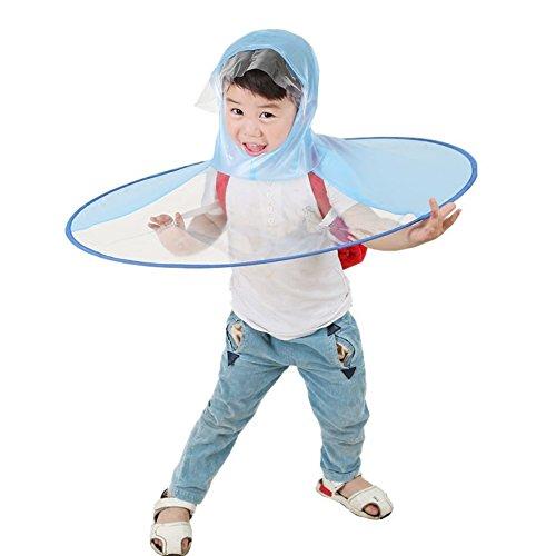雨合羽 UFOキャップ型 創意 個性的 目立つ 折り畳み可能 持ち運びに便利 カッパ 親子レインコート キッズ 児童 子供用 アウトドア 通園 通学 梅雨対策 (L, ブルー)