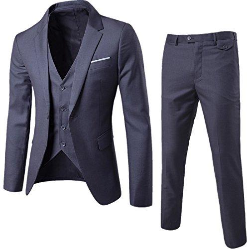 GOMY メンズスーツ スリーピース セットアップスーツ 紺 一つボタン 結婚式/ビジネス/カジュアル/オシャレ 大きいサイズ スリム 抗シワ 洗える セットアップ
