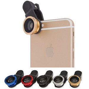 Kaynikon iPhone・各種スマートフォン対応 広角 マクロ 魚眼 3in1レンズ 挟むだけで簡単装着 携帯レンズ ゴールド KAY-PHONE- Magnifier