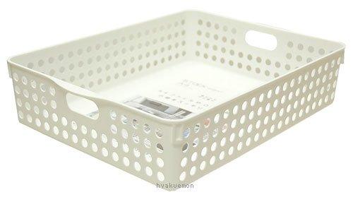 イノマタ化学 小物収納 ストックバスケット A4 ホワイト 4570 26.4×35.3×8.1cm