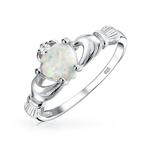 [ブリング・ジュエリー] Bling Jewelry セルティック中心部宝石用原石ホワイトオパールcladdagh Ring925スターリングシルバー [インポート]