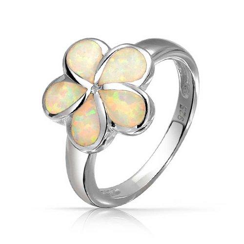 [ブリング・ジュエリー] Bling Jewelry ホワイトオパールインレイハワイアン・プルメリア花リング925スターリング [インポート]