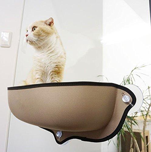 Milkee ハンモック 猫 窓 吸盤 日向ぼっこ 耐荷重13kg マット付き ペットベッド 取り付け簡単 カーキ