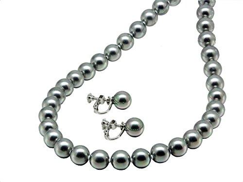 まつよ 花珠貝パールネックレス イヤリングセット 42cm 黒真珠グレーカラー9ミリ42センチイヤリング koagrpn-09-1-42-ring