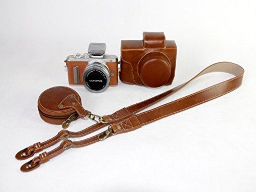 オリンパス E-PL7 E-PL8 EPL7 EPL8 E PL7 E PL8 14-42mm カメラケース、koowl 手で作った最高級のpu革の全身カメラ保護殻、OLYMPUS E-PL7 E-PL8 EPL7 EPL8 E PL7 E PL8 ケース(14-42mmのレンズに適用)向けの透かし彫りベース+ショルダーストラップ+ミニ収納ケース、防水、防振、携帯型(ブラウン)