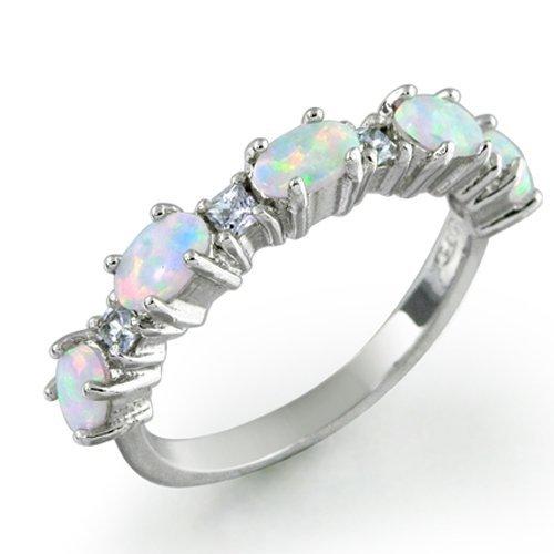 [ブリング・ジュエリー] Bling Jewelry スターリングシルバーホワイトオパールとクリアCZスタッカブルリング [インポート]