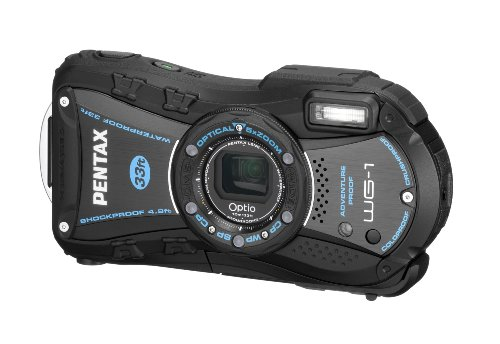 PENTAX 防水デジタルカメラOptio WG-1 ブラック 約1400万画素 広角28mm 光学5倍 CALSモード 10m防水 超解像 1cmマクロ OPTIOWG-1BK