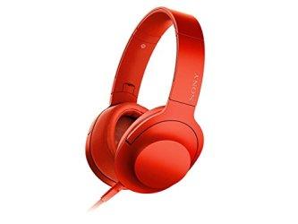 ソニー SONY ヘッドホン h.ear on MDR-100A : ハイレゾ対応 密閉型 折りたたみ式 ケーブル着脱式/バランス接続対応 リモコン・マイク付き シナバーレッド MDR-100A R