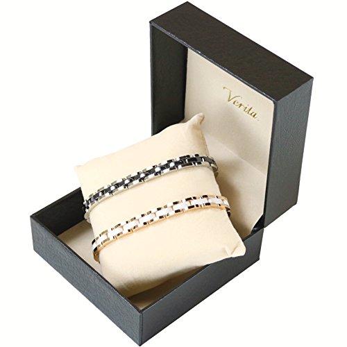 Verita.(ヴェリタ) ペア ブレスレット 高級感のある セラミック+チタン製 (シルバー&ピンクゴールド色) 2点セット 専用BOX & サイズ調節工具付き