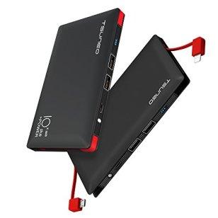 モバイルバッテリー 10000mAh ケーブル内蔵 大容量 MFi認証 ライトニング/microUSBコネクタ付 2USBポート スマホ 充電器 コンパクトで持ち運び便利 iphone/ipad/Android対応 (ブラック)