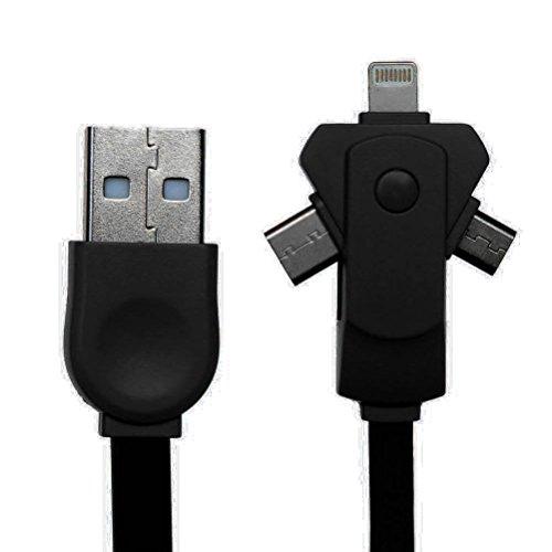 Smart-Japan 3in1 変換ケーブル Lightning+Type-C+Mirco USB汎用充電ケーブル 巻き取り式 急速充電 iPhone,Androidなどほぼすべてのスマートフォンに対応 高品質TPU素材 断線しにくい スマートフォンケーブル (ブラック)