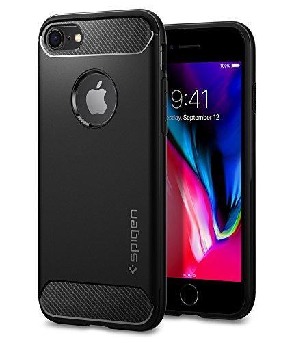 【Spigen】 iPhone7ケース, ラギッド・アーマー  米軍MIL規格取得 落下 衝撃 吸収  アイフォン 7 用 耐衝撃カバー (iPhone7, ブラック)