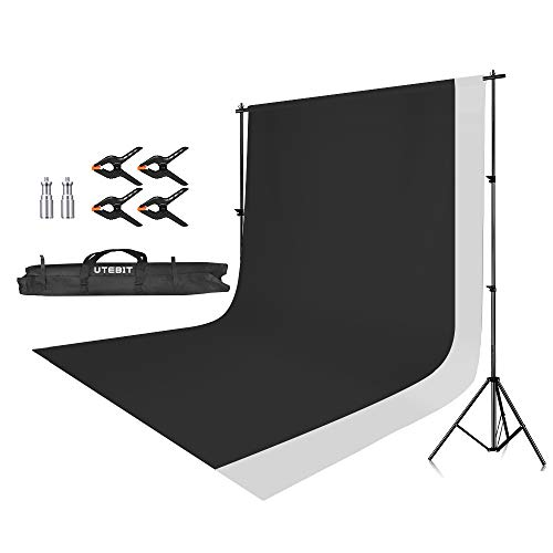 UTEBIT 写真撮影用 背景スタンド + 布 白 + バックペーパー 黒 + 背景布 クリップ 4点 撮影スタンド 2 * 2.8m 強化アルミ製 三脚 写真 背景/背景紙/バック紙/バックペーパー スタンド 背景サポート キャリーバッグ付
