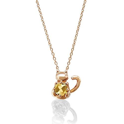 [ミワホウセキ] miwahouseki ご主人様の誕生石を大切に抱く子 猫 モチーフ 11月 誕生石 シトリン ピンクゴールド ニャン子 ネックレス