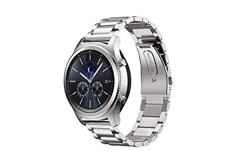 Huawei Watch 2 バンド 【KuGi】 ステンレス鋼 ベルト Huawei Watch 2 時計バンド ビジネス 交換ベルト Huawei Watch 2 交換バンド 腕時計ストラップ シルバー
