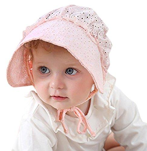 ベビー ハット 赤ちゃん 帽子 レース 春夏 UVカット 女の子 子供用帽子 可愛い キャップ メッシュ 涼しい 通気性 出産祝い 新生児 キッズ お出かけ用帽子 紫外線対策46cm