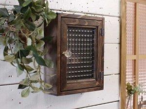 キーボックス 木製 ひのき ダークブラウン チェッカーガラス 角型 パンプキンノブ マグネット ニッチ用 壁掛け 受注製作