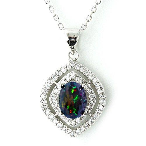 One&Only Jewellery 【鑑別書付】 1ct 天然 ブラックオパール クリスタルカット ネックレス ペンダント K18GP