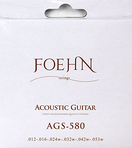 FOEHN AGS-580×6セット Acoustic Guitar Strings Light 80/20 Bronze アコースティックギター弦 12-5 【360円】FOEHN AGS-580×6セット Light、AGS-900×6セット Custom Light 80/20 Bronze アコースティックギター弦 が安い! 【111円~】安いアコースティックギター弦特集! 値段を気にせず常に新しい弦で練習できるおすすめ格安アコギ弦!レビュー・感想【コーティング弦】