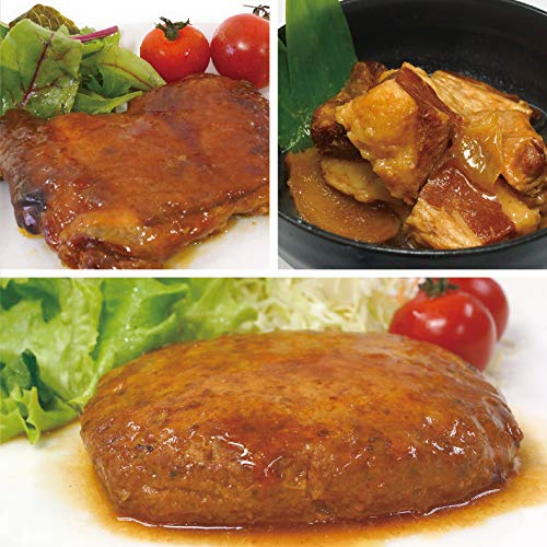 uchipac お肉セット 豚の角煮 照り焼きチキン 煮込みハンバーグ 無添加・無菌・常温保存 賞味期限 260日 各2個