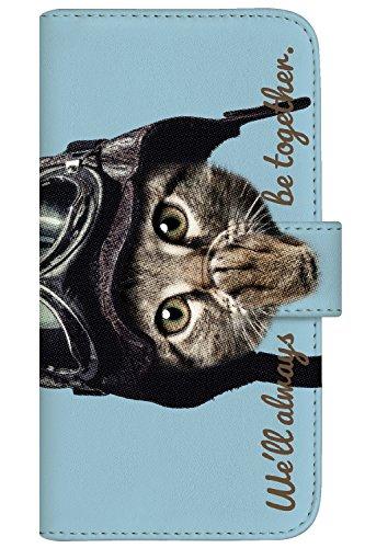 with NYAGO 手帳型 ケース レザー 厚手タイプ apple iPhone 8 (iPhone8) パイロット ソラちゃん 肉球をペロペロするにゃー。 かわいい猫フェイス手帳 7047 ホライズン ブルー
