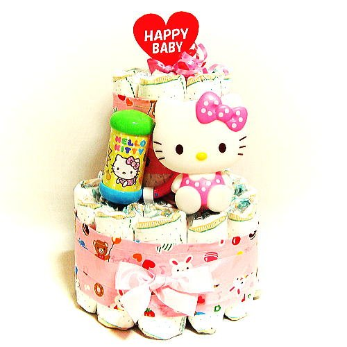 キティーちゃんのおむつケーキは出産祝いで人気の高いギフト