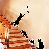 Yanqiao 家の装飾の子供ブラシルーム、リビングルームの寝室DIY取り外し可能な壁ペーパーのための黒のかわいい猫の蝶の壁のステッカー