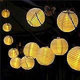 提灯ライト ATPWONZ ちょうちん 6.35M 30球 提灯 LEDストリングライト 電池式 防水 イベント 看板 お祭り屋台に装飾用 屋外 パーティー クリスマス飾り付けライト 電球色 丸型