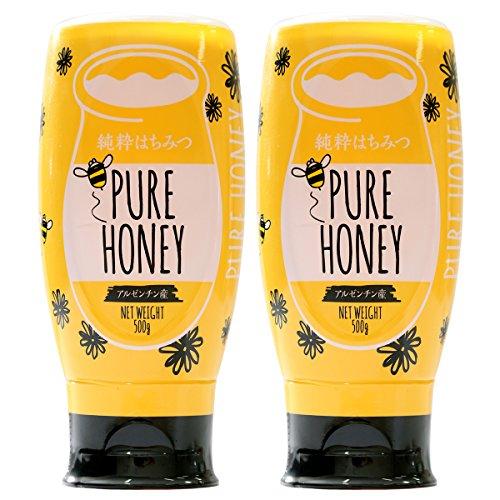 はちみつ 専門店【かの蜂】 アルゼンチン産 純粋 はちみつ PURE HONEY 500g ×2本 セット 完熟の 純粋 蜂蜜 (逆止弁キャップ)