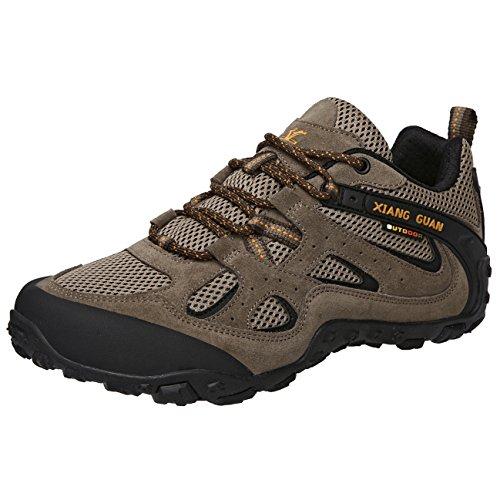 (シャングアン) XIANG GUAN  トレッキングシューズ メンズ 登山靴 大きいサイズ 通気性 耐磨耗 衝撃吸収 軽量 アウトドア スニーカー ハイキング シューズ カーキ色 87233 28.0cm