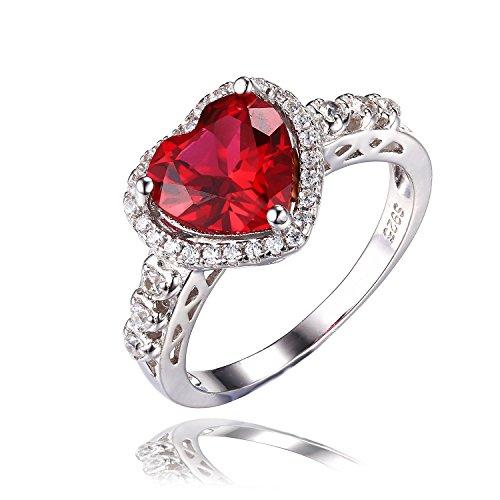 JewelryPalace 高品質 海の心 2.7ct 7月 誕生石 人工 ルビー リング 愛の証 永遠 ハロー 約束 指輪 レディース スターリング シルバー 925 婚約 人気 サイズ 14号