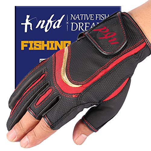 釣り フィッシング グローブ 手袋 釣り道具 ゆびなし (バス釣り ルアー 釣り 海釣 川釣 ) nfd 日本正規品 (S, レッド)