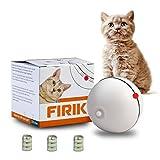 FIRIK (フィリク) 猫おもちゃ LEDボール 光って電動 9枚電池付き コロコロ 動く トレーニング(ホワイト) 猫用 おもちゃ
