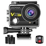 Jeemak 4Kアクションカメラ 1600万画素 フルHD 30m防水 WiFi搭載 リモコン付き 32GBカード対応 ウェアラブルカメラ 170度広角 魚眼レンズ 高速連写 超高画質 ドライブレコーダーとして使用可 車載モード 2x1050mAhバッテリー タイムラプス 4Kカメラ 日本語対応 付属品セット 音声記録可