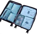 Mcooll トラベルポーチ7点セット 衣類収納袋 整理 インナーバッグ メッシュポーチ 収納袋 軽量 防水 大容量 旅行 収納ポーチ (ブルー)