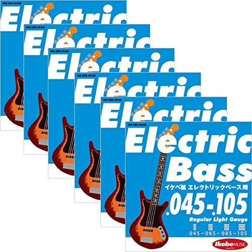 "Ikebe Original Electric Bass Strings ""イケベ弦 エレキベース用 045-105 【560円~】安いベース弦特集! 値段を気にせず常に新しい弦で練習できるおすすめ格安・激安ベース弦!レビュー・感想【4弦・5弦・6弦・コーティング弦】"" [Regular Light Gauge/IKB-EBS-45105]×6セット"