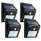 センサーライト ソーラーライト 40LED 屋外照明 両面テープ付 防犯ZEEFO ボタン付き シングルモード 自動点灯 太陽光発電 外灯 玄関/駐車場 4個