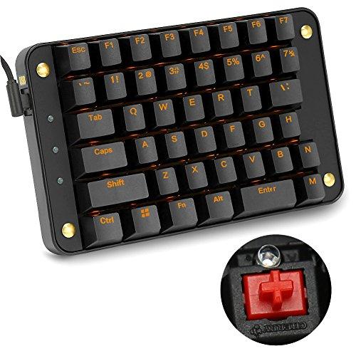 Koolertron 片手メカニカルキーボード ゲーミングキーボード 43キー プログラム可能 Windows 7/8/10/Mac OS/Linux ゴールデン・バックライト付き(Cherry赤軸)
