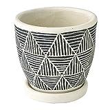 SPICE OF LIFE 植木鉢 プランター トライアングル ブラック 直径12.5×12cm セメント 底穴あり 皿付き CCGH1830BK