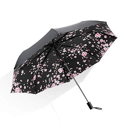 日傘 折りたたみ傘 蕉下Bananaunder 晴雨兼用 UVカット率99.9% 耐風撥水 二重生地 紫外線遮蔽 レディース 花柄 日焼け対策 ブラックシリーズ (桜)