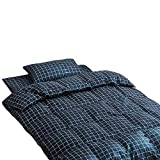 Hanacat 布団カバー シングル 3点セット 寝具カバーセット 布団用 和式 チェック柄 ブルー