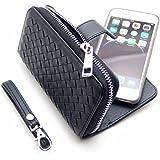 【Puppy Select】 マグネット脱着式 財布 代わりにもなる 大容量 iPhone 手帳 型 スマホ ポーチ 選べるカラー サイズ メッシュブラック iPhone6 Plus