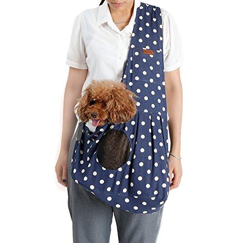 Gobig ペット用スリングバッグ 犬 猫適応 抱っこ紐 ひも 斜めがけバッグ ファスナー付き 幅広の肩紐 長さ調整可能 通気性抜群 6kgまでの耐久性 (ブルー(水玉柄))