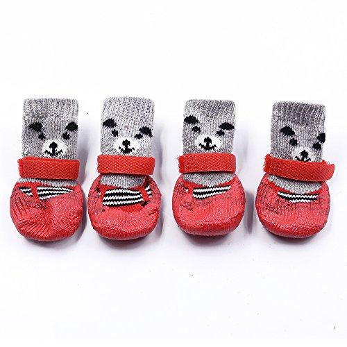 Innopet 犬用ソックス 靴下 犬用 防寒 滑り止め マジックテープ付き 暖かい クリスマス 可愛い 熊 4個セット 犬の肉球が剥がれて血が出た時の対処法。肉球の代用アイテム。イヌの足の裏を守り舐めるのや病気を防ぎ散歩もさせて元気で長生き。