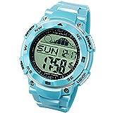 [ラドウェザー]ダイバーズ腕時計 タイドグラフ 100m防水 デジタル時計 (スカイブルー(通常液晶))