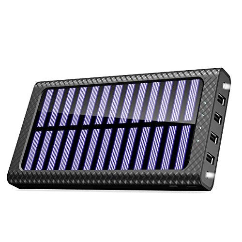 TSSIBE モバイルバッテリー ソーラーチャージャー 24000mAh 二個LEDランプ搭載 QuickCharge 電源充電可能  三つ入力ポート(MicroUSB/Lightning/Type-C入力ポート)四つ出力ポート 電気量指示ランプ付き Android/iPhone /iPad /ゲーム機/カメラ等に対応 災害/旅行/アウトドアに大活躍 (ブラック) 【厳選】超大容量モバイルバッテリーが地震・台風・災害時の電気がない時に役立つ!復旧するまでに絶対持っておきたいオススメのモバイルバッテリー10選特集。【ソーラー充電・ケーブル内蔵型】