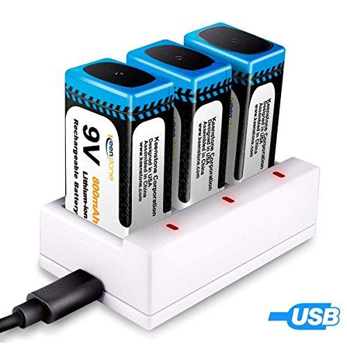 Keenstone 9v 電池 充電式 3個 リチウムイオン充電池 800mAh 006p カメラ/時計/ラジオ/おもちゃ電池 3ポート充電器とUSBケーブル付き 【徹底比較】「9v電池 充電式」特集!コスパがよくて安い!ギター・ベースのエフェクター・プリアンプにオススメ!四角い電池【容量・価格】