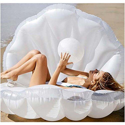 【fashionable】大型フロート 人魚になれる シェルフロート 貝殻型フロート 真珠デザイン パールボール付 マーメイド ホワイト 浮き輪 浮き具