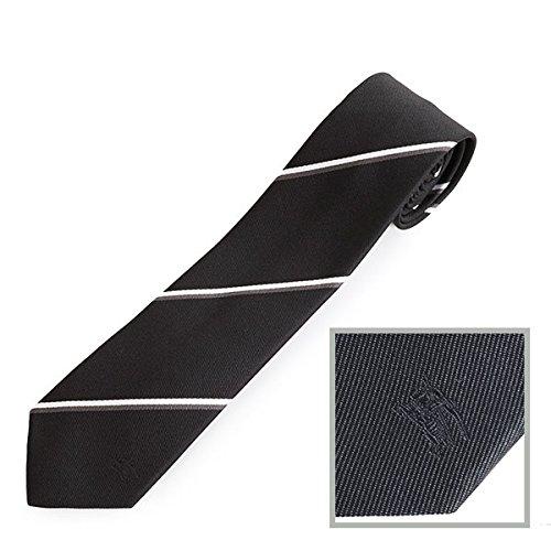 BURBERRY バーバリー メンズ STANFIELD 4500424171 イタリア製 ロゴ刺繍 レジメ ストライプ柄 シルク ネクタイ カラーBLACK / [並行輸入品]