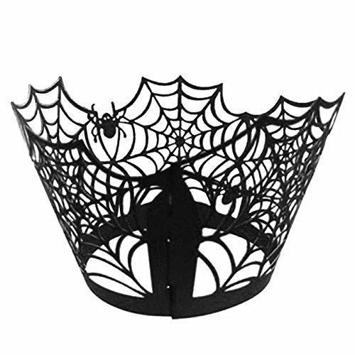 Dagly(TM)個入りハロウィンカップケーキラッパーイベントパーティーハロウィンの装飾ブラックSPID-ERのWebマフィンカップライナーペーパーホルダー